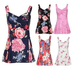 1b994ac95dafe6 Women Summer Sleeveless Floral Vest Ladies Casual Blouse Tank Tops T-Shirt