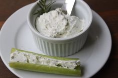Low calorie/ low GI snack idea: Goat cheese spread on celery