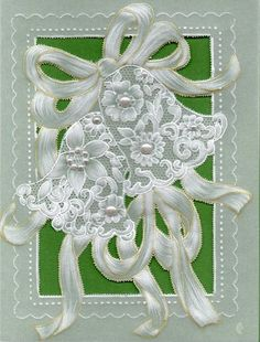Lace bells, different card stock, different border and pearls added