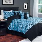 Blue Victoria Damask 7-Piece King Comforter Set