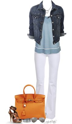 """white pants, blue polka dot top, jean jacket - """"On a Spring Morning"""" by partywithgatsby ❤ liked on Polyvore"""