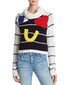 Alice + Olivia Zita Eye Heart You Embellished Sweater | Bloomingdale's