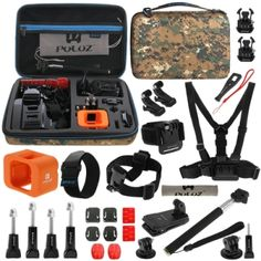 PULUZ 29 in 1 Accessories Combo Kit with Camouflage EVA Case (Chest Strap + Head Strap + Wrist Strap + Floating Cover + Surface Mounts + Backpack Rec-mount + J-Hook Buckles + Extendable Monopod + Tripod Adapter + Quick Release Buckles + Storage Bag + Wrench) for GoPro HERO4 Session
