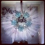 Tulle wreath- foam wreath, tulle, snowflake ornaments, glue gun
