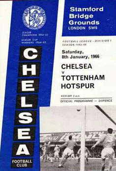 Chelsea 2 Tottenham 1 in Jan 1966 at Stamford Bridge. The programme cover #Div1