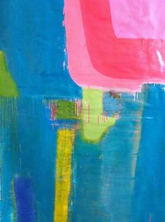 Pink, pink on Turquoise With Yellow by Andrew O'Brien.