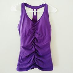 Lucy purple racerback active top Built in support, ruched front, new without tags, mesh racerback Lucy Tops