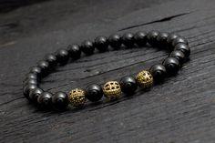 Black #onyx beaded stretchy #bracelet with #bronze beads made to order yoga bracelet