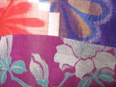 Zopfband Kimonoseide Haargummi Meisen-Seide antik XL Scrunchie IKAT