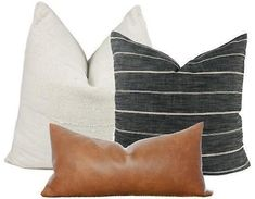 Pillow Combination #3 | 3 Pillow Covers | Faux Leather | African Mudcloth | Grey Stripe Farmhouse Pillow by One Affirmation www.oneaffirmation.com