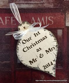 CHRISTMAS ORNAMENT Mr & Mrs 2015 Our by thebackporchshoppe