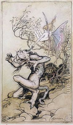 ✽   arthur rackham  - 'sprite and monster'  -  illustration from 'tales from shakespeare' by charles and mary lamb  -    archive.com/web