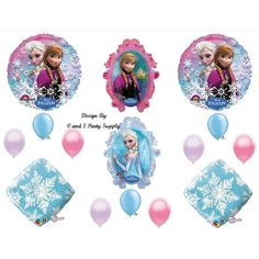 Frozen snowflakes Disney Movie BIRTHDAY PARTY Balloons Decorations... ($21) ❤ liked on Polyvore