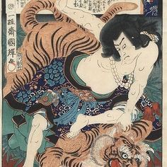 """""""Warrior Wrestling a Tiger"""", 1865 by Kuniteru II (1829 - 1874); Japanese woodblock print  Today, we are featuring a striking design by Kuniteru II of a warrior wrestling a snarling, lifelike tiger, from a series based on the #classic #Chinese novel """"The #Water Margin"""" (Suikoden in Japanese). Want to know more about this print? Visit our website by clicking the link in our bio and search for """"tiger"""". #japan #art #japaneseart #beautiful #japanesewoodblockprint #epic #tiger #tattooidea…"""