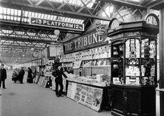 """Wyman & Sons newsagent at Euston Station in Old London, 1920 London, Vintage London, Underground Tube, London Underground, London Pictures, London Photos, Euston Station, Tube Train"