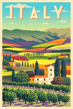 Buy Rural Landscape in Sunny Day in Italy by on GraphicRiver. Romantic rural landscape in sunny day in Italy with vineyards, farms, meadows, fields and trees in the background. Poster Art, Art Deco Posters, Poster Prints, Retro Posters, Gig Poster, Posters For Room, Movie Posters, Arte Van Gogh, Italy Landscape