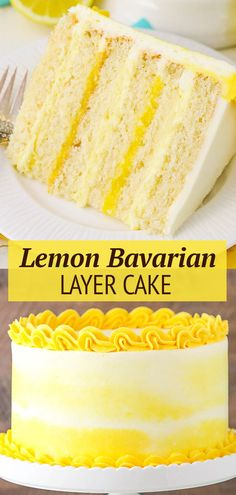 This Lemon Cake with Lemon Bavarian Cream is made with a moist lemon cake, alternating layers of lemon bavarian cream and lemon curd filling and lemon buttercream! It's a wonderful mix of textures and layers and such a fun way to enjoy lemon cake! Easy Tart Recipes, Cake Recipes From Scratch, Homemade Cake Recipes, Pound Cake Recipes, Lemon Recipes, Cupcake Recipes, Cupcake Cakes, Desserts With Biscuits, No Bake Desserts