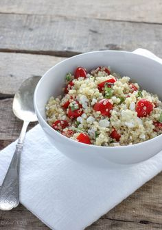 Quinoa with Tomatoes, Basil & Feta - This flavorful healthy salad is perfect alone or as a dinner side dish!