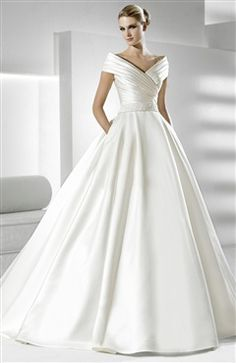 Satin White A-line Off-the-shoulder Court Train #Wedding #Dress Style Code: 07531 $249