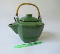 Tea Pot Vintage Green Ceramic Safety Lid Bamboo by HobbitHouse