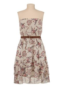 Belted High-Low Floral Print Tube Dress