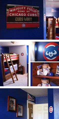 Jane of all Trades: Chicago Cubs Room Boys Baseball Bedroom, Boy Sports Bedroom, Baby Boy Rooms, Baby Boy Nurseries, Bedroom Boys, Kids Rooms, Bedroom Ideas, Lego Bedroom, Childs Bedroom