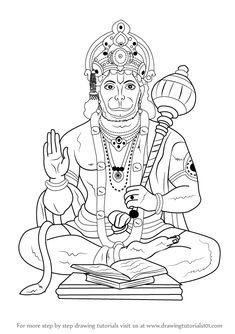 Learn How to Draw Lord Hanuman (Hinduism) Step by Step : Drawing Tutorials Ganesha Drawing, Ganesha Art, Mandala Drawing, Krishna Art, Mandala Art, Ganesha Sketch, Lord Krishna, Art Drawings For Kids, Pencil Art Drawings