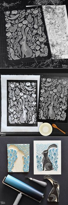 Love this detailed Lino print! One block for this two separate prints within one print! Linocut Prints, Art Prints, Block Prints, Impression Textile, Linoleum Block Printing, Illustration Art, Illustrations, Stamp Carving, Handmade Stamps