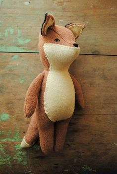Wool fox doll / soft toy sewing pattern by Willowynn Animal Sewing Patterns, Doll Patterns, Sewing Toys, Baby Sewing, Wolf Stuffed Animal, Stuffed Animals, Doll Toys, Dolls, How To Make Toys