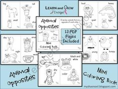 Animal Opposites Printable Coloring Book from LearnandGrowDesigns on TeachersNotebook.com -  (14 pages)