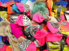 HANDCRAFTED HAIR ACCESSORIES www.facebook.com/TheRibbonFactory #bows #neon #pink