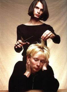 Jonny Greenwood and Thom Yorke. Love Jonny's hair <3