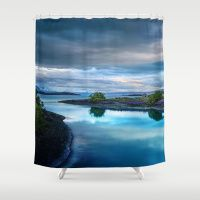 AN EVENING ON THE BLUE LAKE Shower Curtain