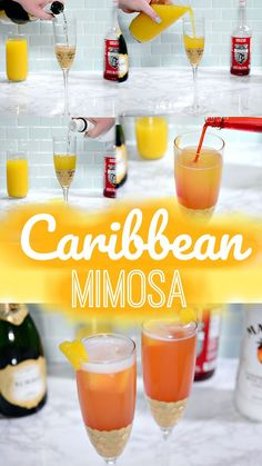 Mimosa Recipe Discover Caribbean Mimosa for National Mimosa Day: May National Mimosa day is May 2018 and we have the perfect Caribbean mimosa recipe to take your National Mimosa day (or any day) to the next level! Champagne Drinks, Wine Drinks, Cocktail Drinks, Cocktail Recipes, Alcoholic Drinks, Beverages, Bar Drinks, Summertime Drinks, Summer Drinks