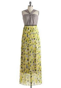 Melodious Yellow Dress by Ryu - Yellow, Floral, Pleats, Maxi, Long, Black, Grey, Cutout, Prom, Cocktail, Empire, Sleeveless, Wedding, Spring, Summer, Bridesmaid