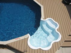 Semi inground swimming pool walk in steps | longislandswim