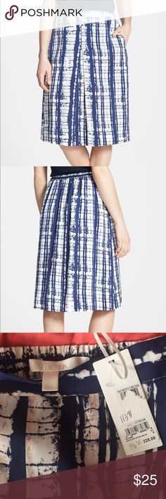 Nordstrom Collection . Silk skirt . Never used .  Navy Eclipse texture lines . Nordstrom Skirts