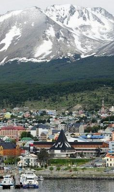 The edge of the harbor and the town of Ushuaia, Tierra del Fuego, Argentina. Dream destinations, Surreal Places To Visit Places Around The World, Oh The Places You'll Go, Travel Around The World, Places To Travel, Places To Visit, Around The Worlds, Ushuaia, Bolivia Travel, Argentina Travel