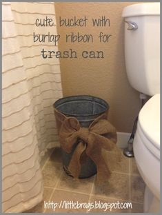 Burlap Bow Trash Can! Too cute!