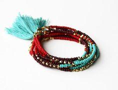 Beaded Bracelet Beaded Tribal Bracelet Beaded by feltlikepaper