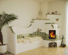 Traditionelle Kachelöfen - KVK - Der Kachelofen Earth Bag Homes, Earthship Home, Tiny Living Rooms, Rustic Home Design, Dome House, Japanese Interior, Interior Decorating, Interior Design, Fireplace Design