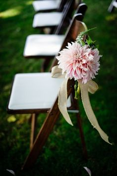 flowers aisle decor for outdoor wedding, rustic ribbon chair decor, summer wedding ideas Mod Wedding, Floral Wedding, Rustic Wedding, Wedding Church, Wedding Summer, Trendy Wedding, Wedding Chair Decorations, Wedding Chairs, Church Pew Decorations