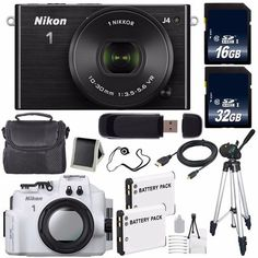 Nikon 1 J4 Mirrorless Digital Camera with 10-30mm Lens (Black) (International Model No Warranty)   Nikon WP-N3 Waterproof Housing   EN-EL22 Battery   96GB Total Memory   6AVE Bundle ** For more information, visit image link.
