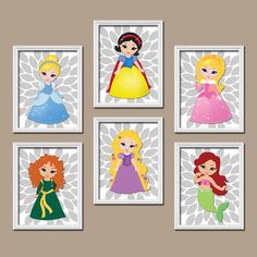 ★Princess Wall Art Disney Girl Artwork Child Flower Set of 6 Prints Baby Bedroom Decor    ★Includes 6 unframed prints  ★FRAMES NOT INCLUDED    ★SIZING