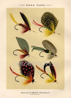 Vintage Fly Fishing Print Bass Flies Print Fishing Lure Print Bass Fishing Cabin Decor Wall Art Gift for Birthday Dad Boyfrirend by plaindealing on Etsy Fly Fishing Books, Fly Fishing Tips, Gone Fishing, Best Fishing, Trout Fishing, Fishing Lures, Fishing Knots, Fishing Stuff, Vintage Bass