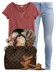 """""""889"""" by tuhlayjuh ❤ liked on Polyvore featuring 7 For All Mankind, H&M, Rolex, Louis Vuitton, Steve Madden and Jessica Simpson"""