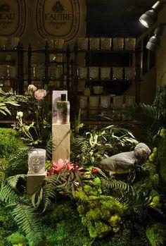 Diptyque flower window displays by Alexandre Roussard, Paris