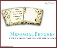 Wedding/Anniversary Concrete Garden Bench by Southwest Graphix.  #memorialbenches #bench #green #sky #park #art #design #seating #usa #likeformore #wedding #handcraft