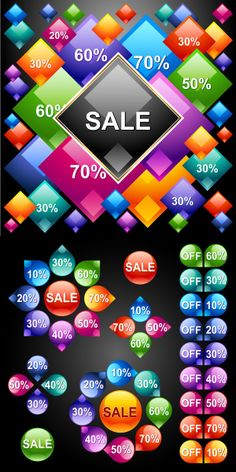 Color graphics combined digital vector material