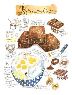 22 Ideas For Baking Art Illustration Etsy Pumpkin Pie Recipes, Cookie Recipes, Arts Bakery, Recipe Drawing, Watercolor Food, Watercolor Print, Food Sketch, Food Journal, Kitchen Wall Art